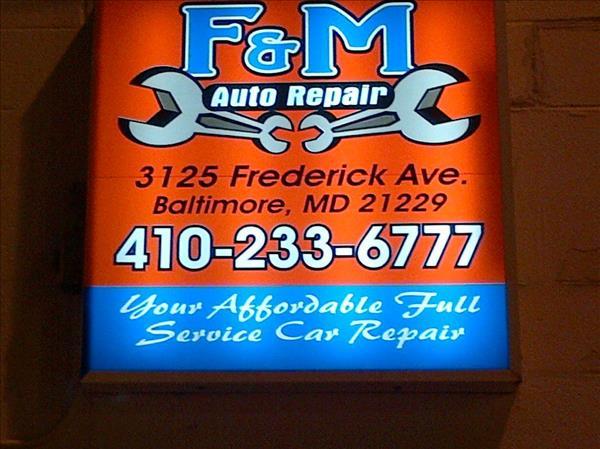 F & M Auto Repair, Baltimore MD, 21229, Maintenance & Electrical Diagnostic, Automotive repair, Brake Repair, Engine Repair, Tires, Truck Repair and Transmission Repair